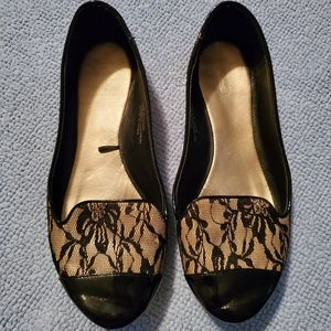 Black and Nude Lace Flats
